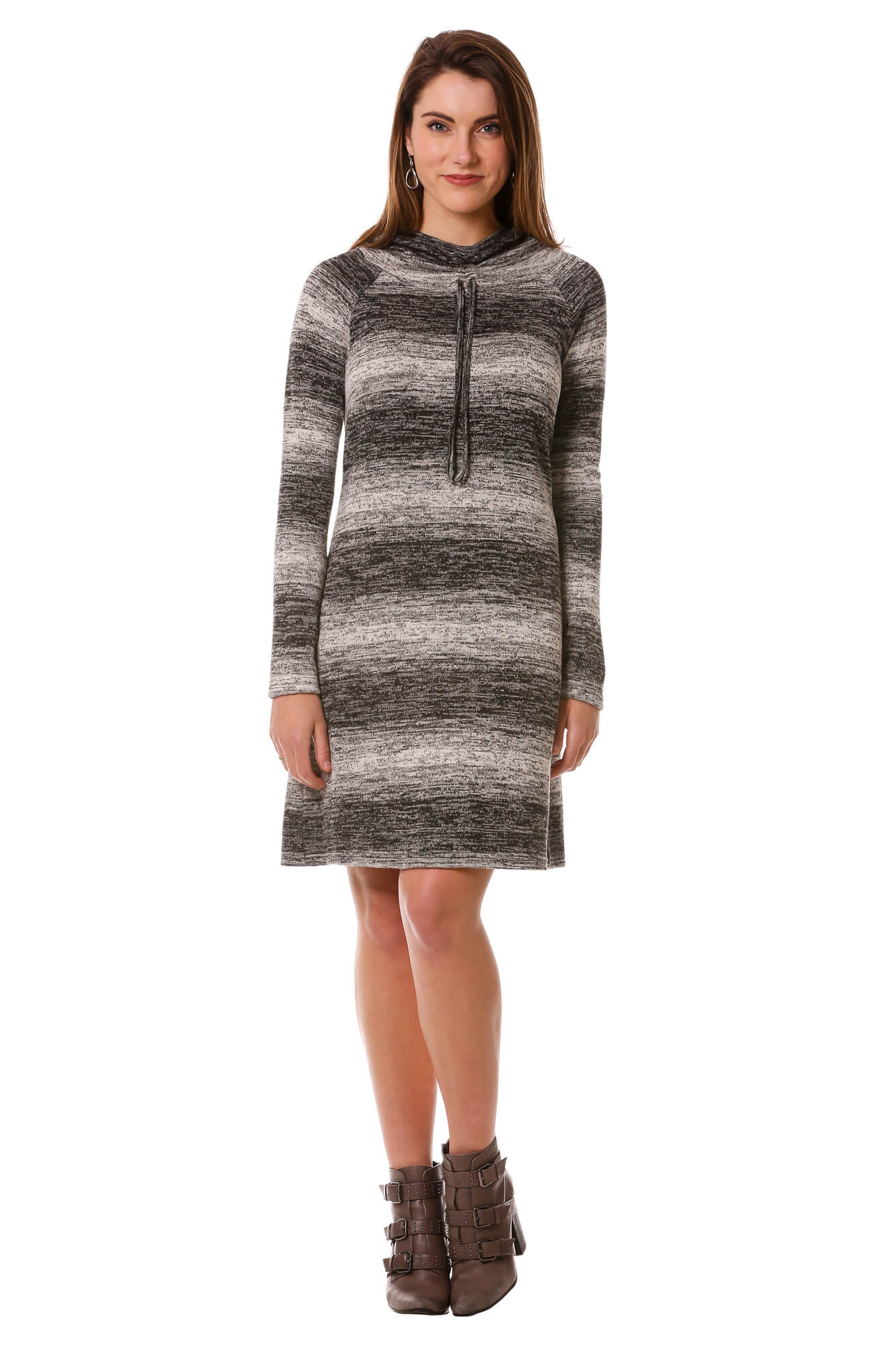 Women's Grey Striped Hoodie Sweater Dress with Cowl Neck | Neesha