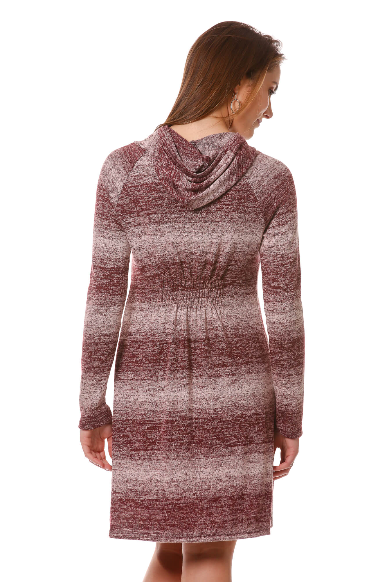 Women's Maroon Striped Hoodie Sweater Dress with Cowl Neck | Neesha