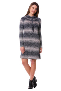 Striped Drawstring Cowl Hoodie Sweater Dress