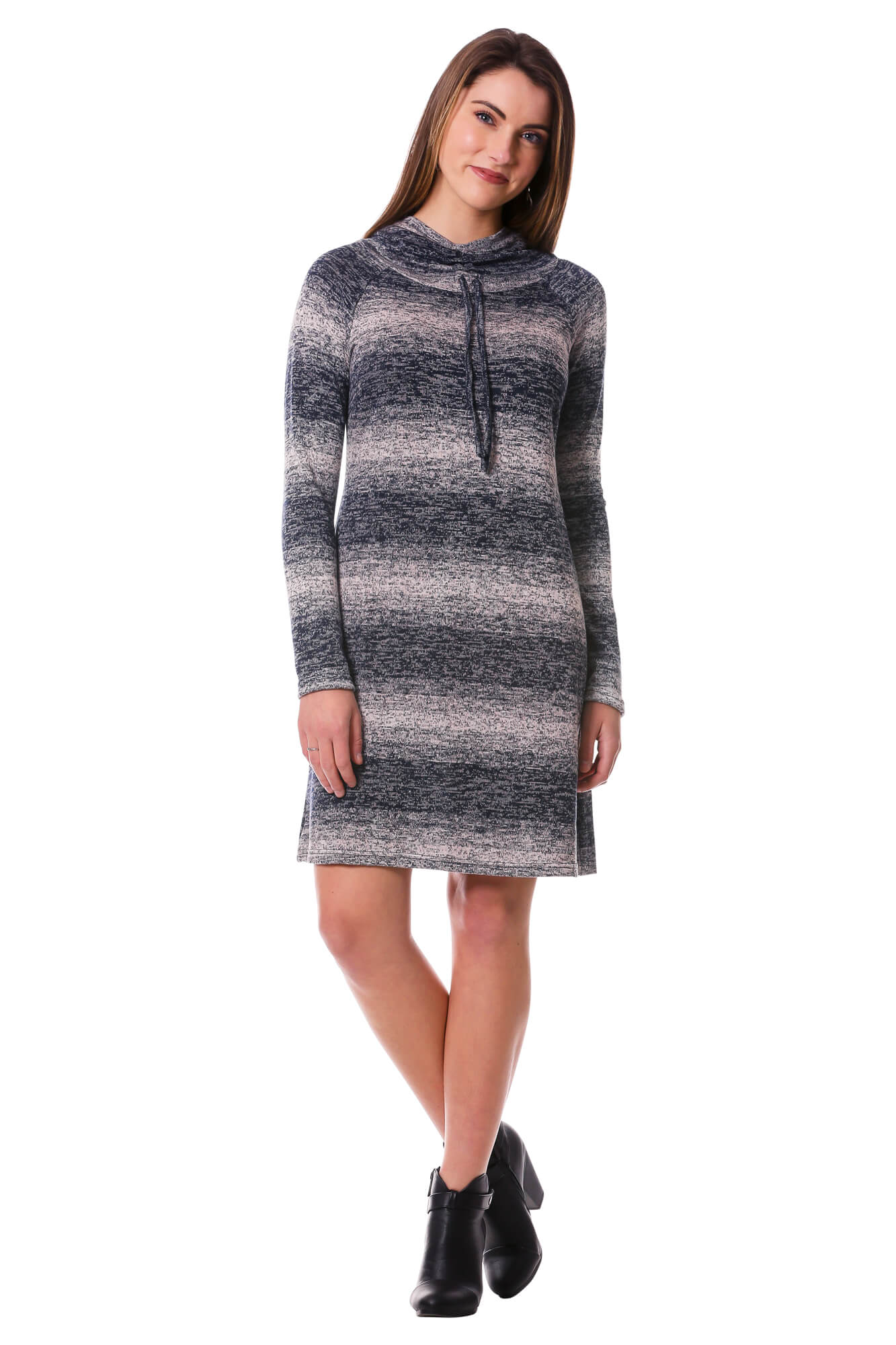 Women's Navy Striped Hoodie Sweater Dress with Cowl Neck | Neesha