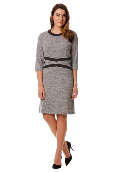 Women's Light Grey Geometric Color Block Sweater Dress | 3/4 Sleeves | Neesha