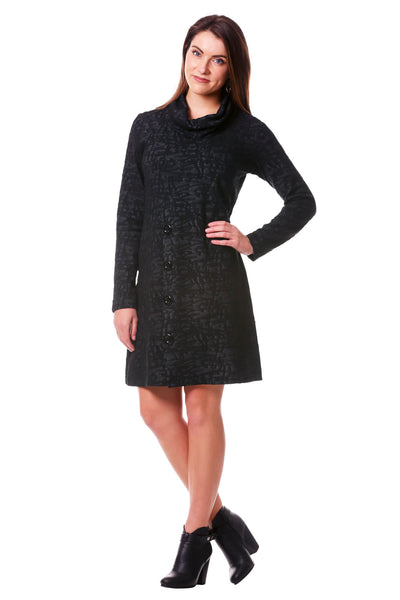 Jacquard Cowl Neck Long Sleeve Dress | Sweater Button Dress | Neesha