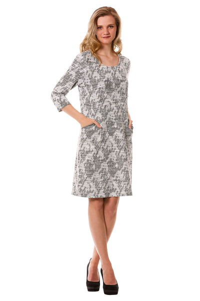 Women's Grey and White Tweed Shift Dress with Pockets | Neesha Fashion