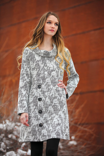 Women's Grey Tweed Cowl Neck Dress with Buttons | Long Sleeve | Neesha