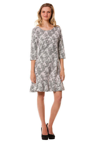 Tweed A-Line Dress w/ Ruffle