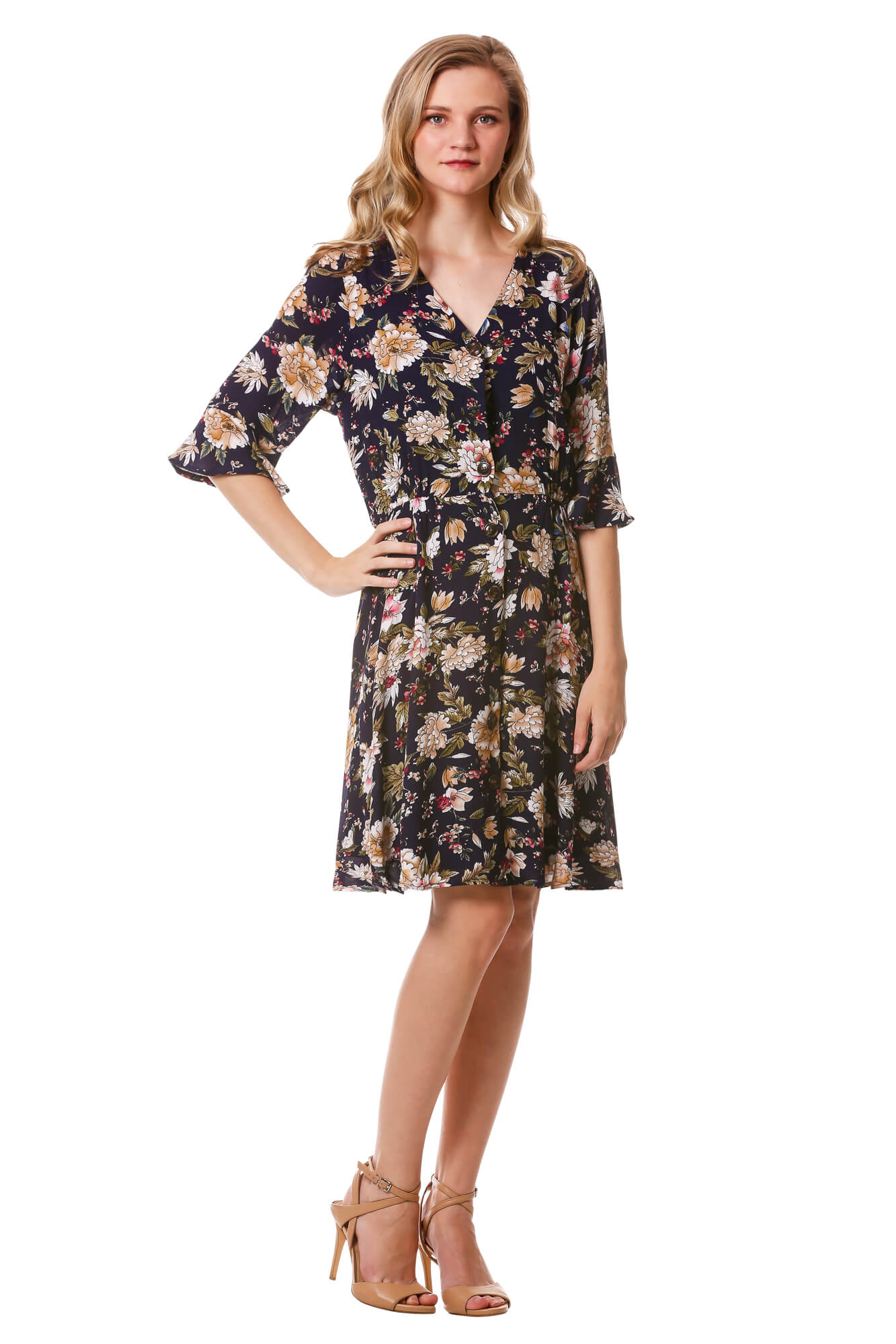 Women's Navy Floral Button Dress with Bell Sleeves | Neesha Fashion