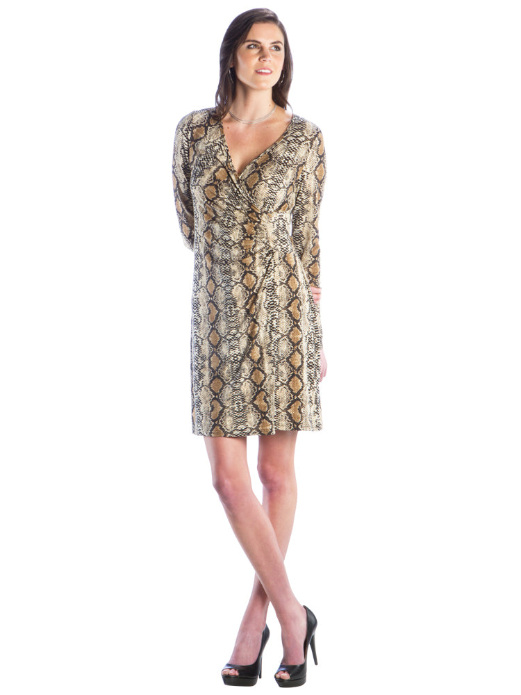 Faux Wrap Dress with V-Neck and Snake Skin Print, Brown Printed Dress