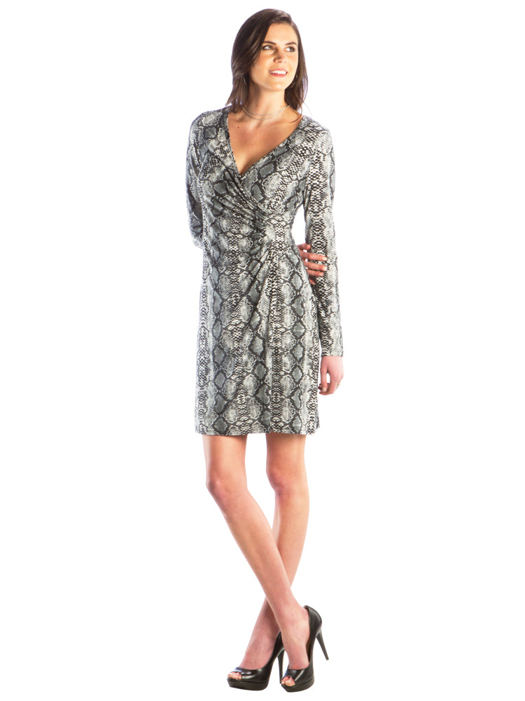 Faux Wrap Dress with V-Neck and Snake Skin Print, Grey Printed Dress
