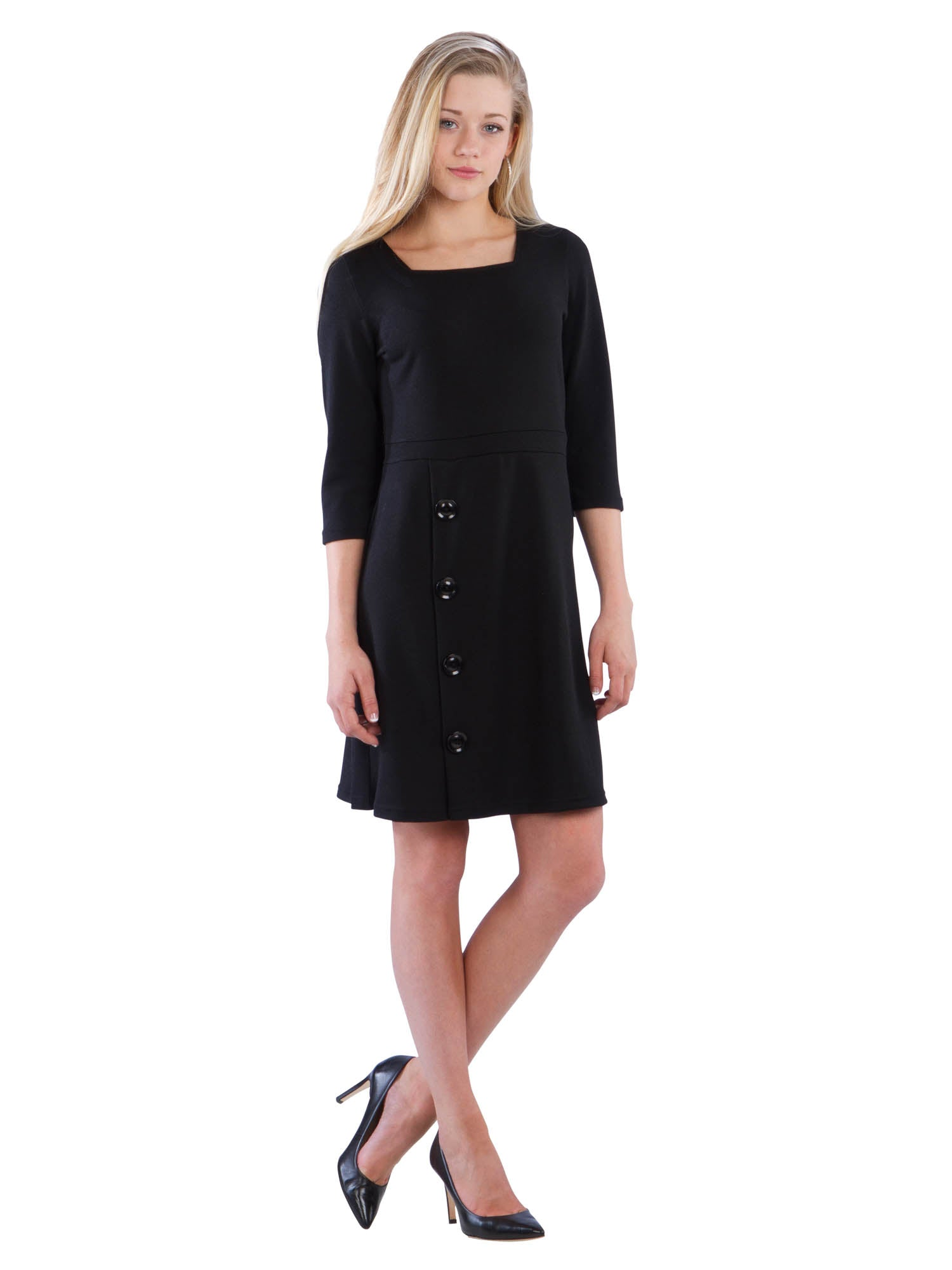 Square Neck Button Dress