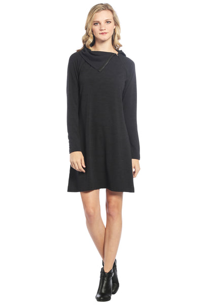Cowl Neck Zipper Sweater Dress