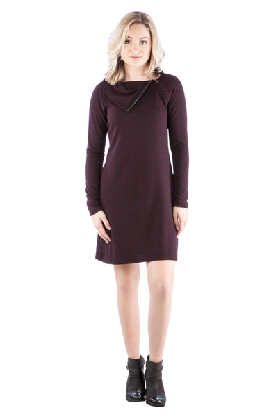 Zipper Cowl Neck Sweater Dress in Maroon
