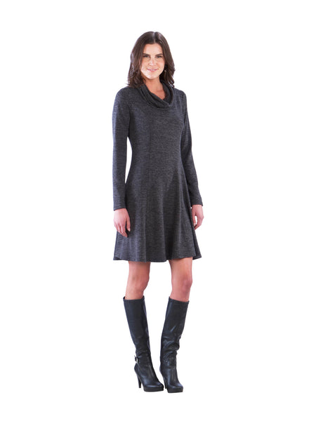 Cowl Neck Sweater Dress with Long Sleeves