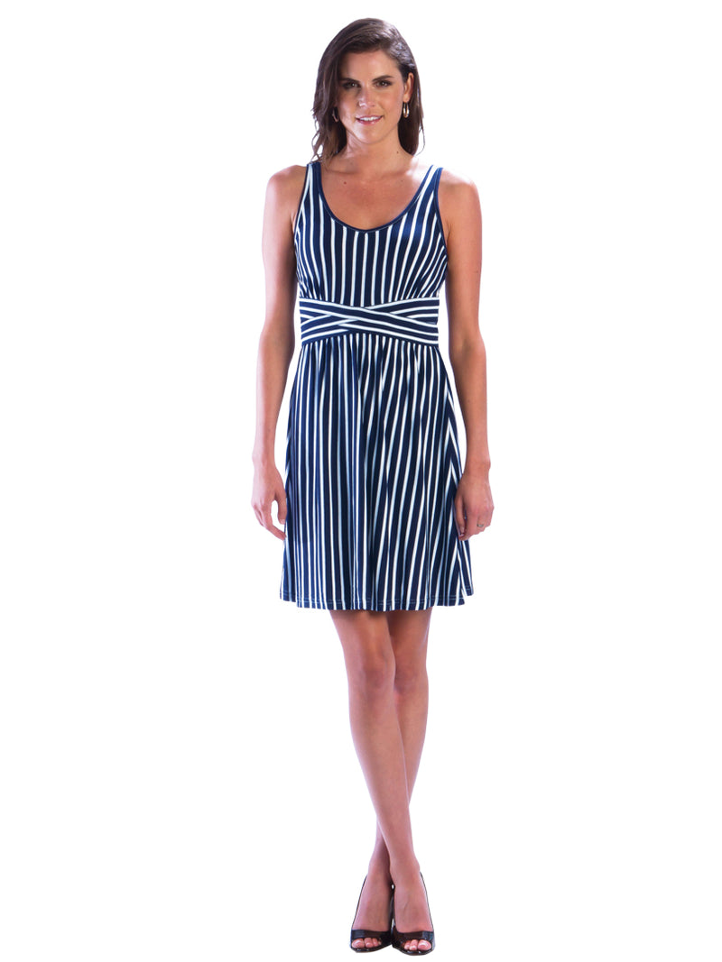 Criss Cross Striped Beach Dress with Empire Waist - Navy Dress - Navy and White Striped Dress, Nautical Dress