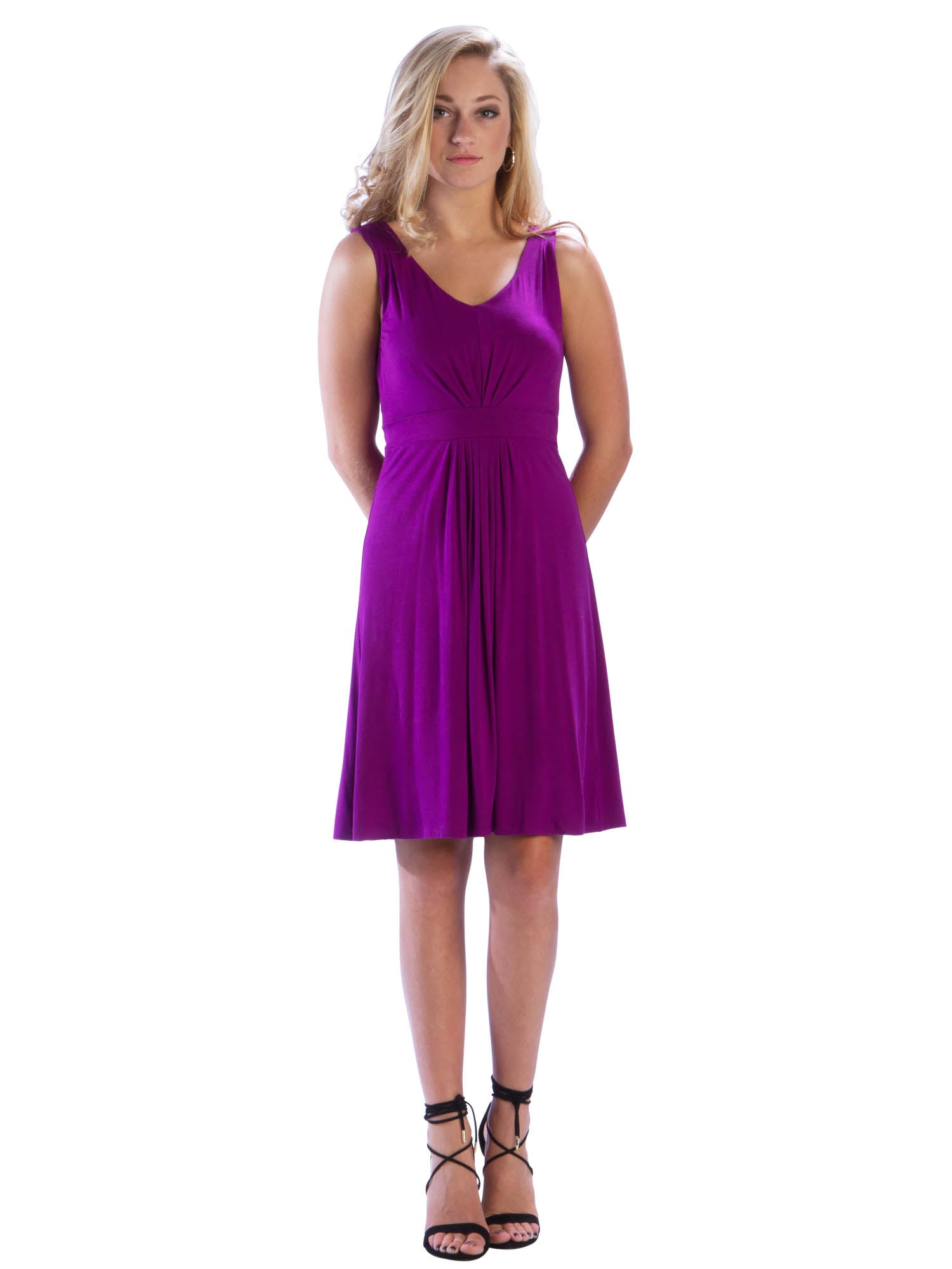 Pleated V Neck Dress w/Waistband