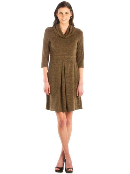 Cowl Neck Dress w/ Center Pleat