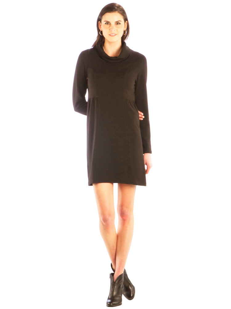 Cowl Neck Sweater Dress with Gathered Empire Waist - Brown Dress