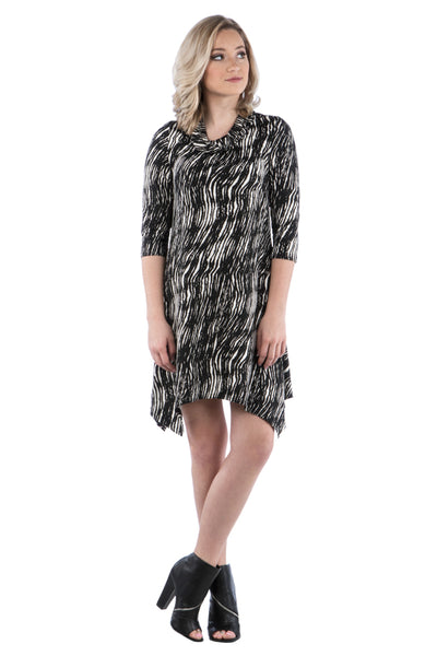 Cowl Neck Dress with Irregular Handkerchief Hem and Zig Zag Wave Print, Black/White Dress