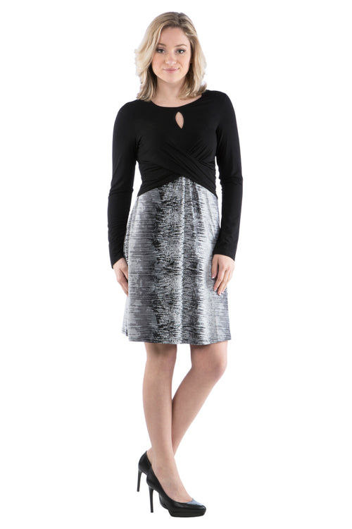 Keyhole Color Block Print Dress with Long Sleeves - Little Black Dress - LBD - Grey Dress, Grey and Black Dress