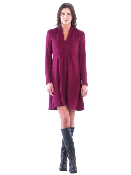 V-Neck Sweater Dress with Empire Waist - Wine Dress