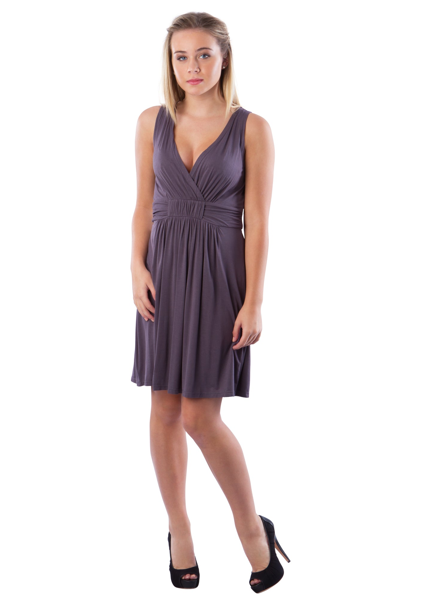 V Neck Fit and Flare Surplice Dress