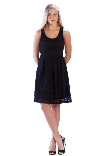 Eyelet Fit and Flare Box Pleat Dress