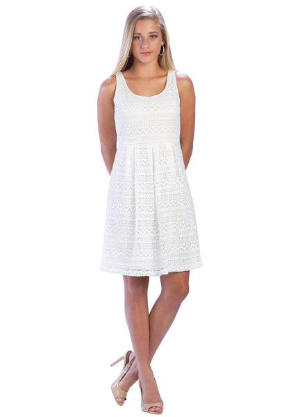 Eyelet Fit and Flare Dress with Pleated Waist