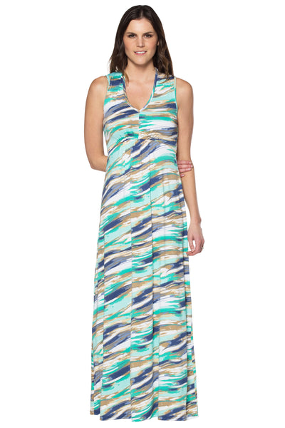 V Neck Printed Maxi Dress with Gathered Bodice