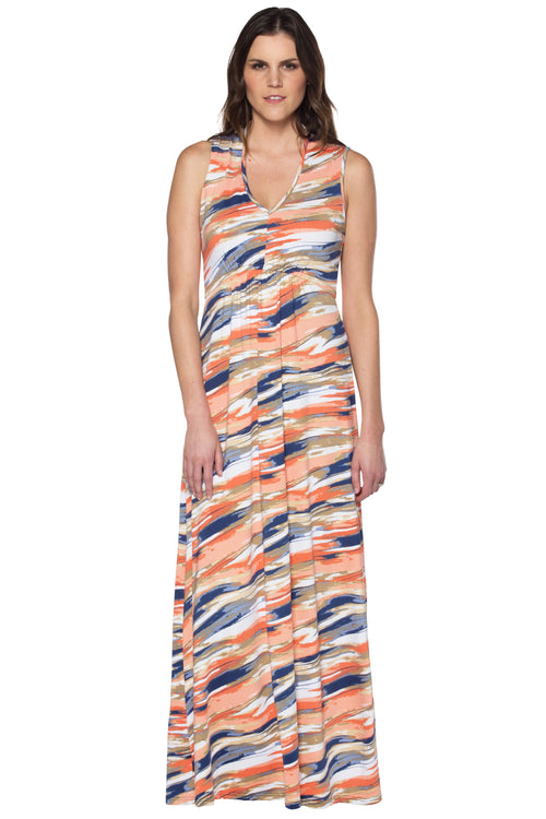 Orange/Navy Maxi Dress
