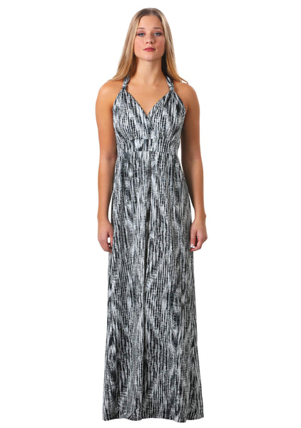 Printed Faux Halter Maxi Dress