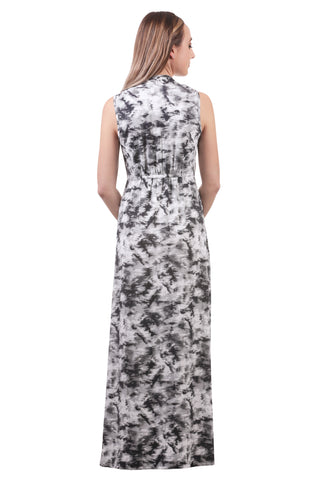 Women's Black/White Maxi Gathered V-Neck Dress | Sporty Maxi | Neesha