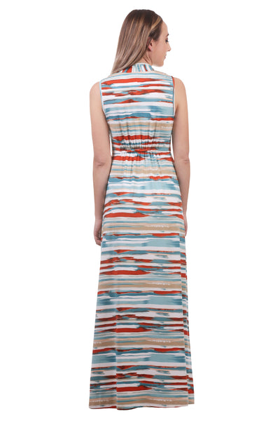 Maxi Gathered V-Neck Dress