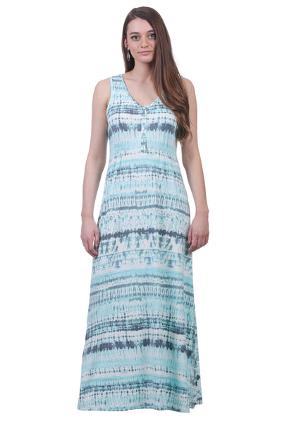 Light Blue Maxi Smocked Button Dress with Slits | Long Dress | Neesha