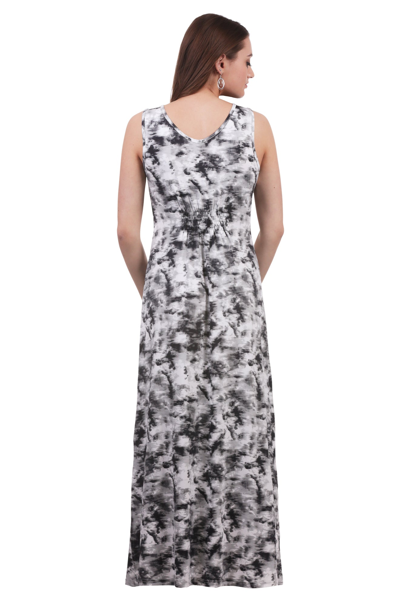 Black/White Maxi Smocked Button Dress w/ Slits | Cloud Print | Neesha