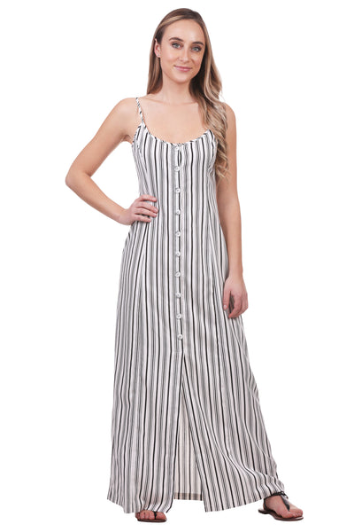Black and White Striped A-Line Button Up Maxi Dress | Sleeveless Dress