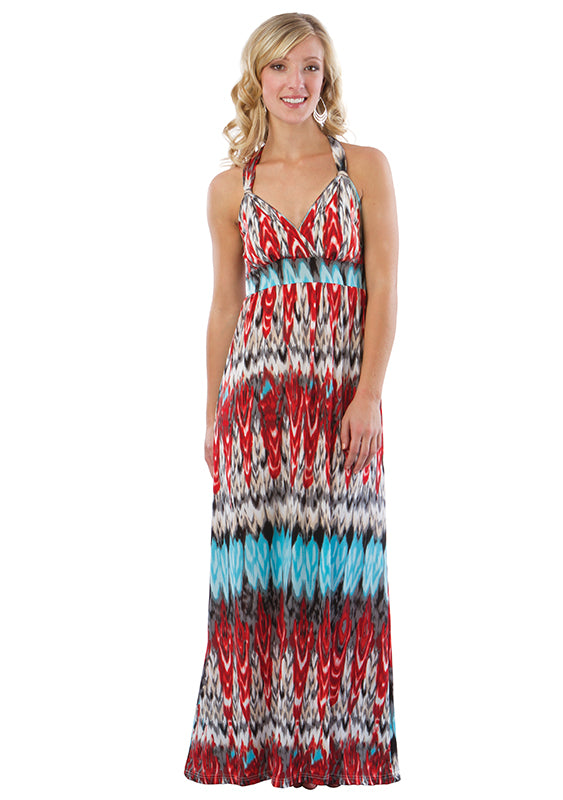 Maxi Beach Dress with Adjustable Faux Halter