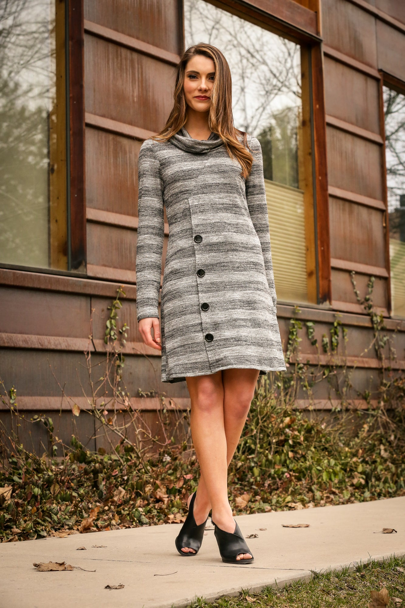 Striped Cowl Neck Button Dress