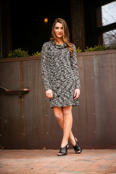 Cowl Neck Slub Dress with Buttons