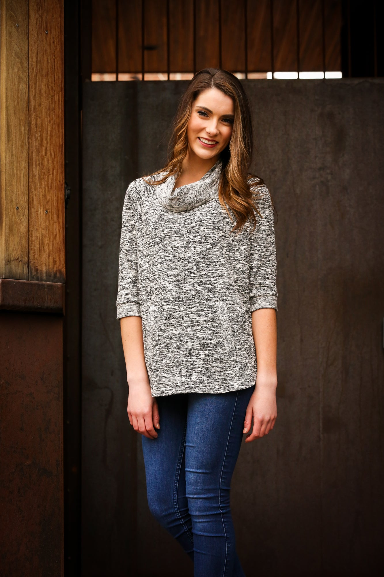 Cowl Neck Sweater Top with Slub Fabric