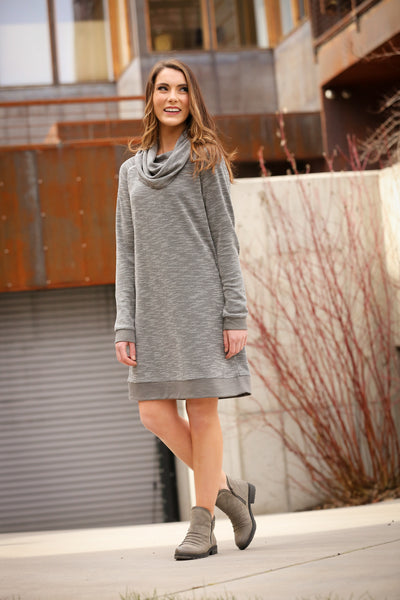 Waffle Weave Cowl Neck Sweater Dress