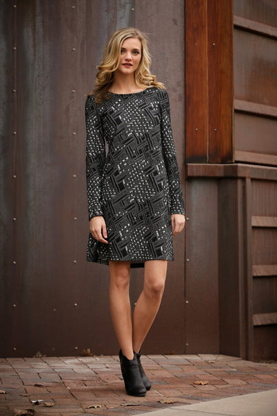 A-Line Flare Dress with Textured Pattern