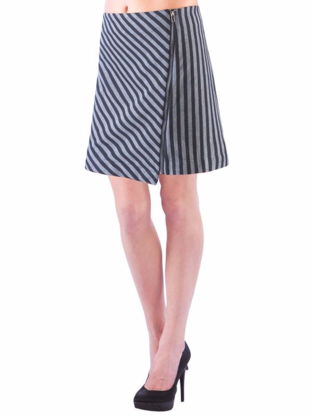 Striped Diagonal Zipper Skirt