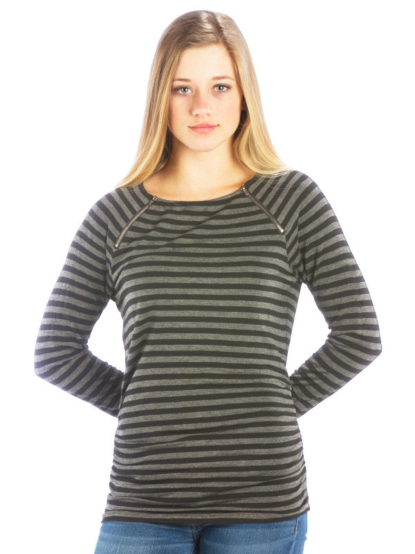Striped Zipper Top