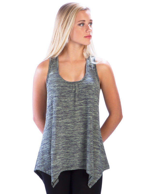 Heather Racerback Top with Irregular Hem in Green