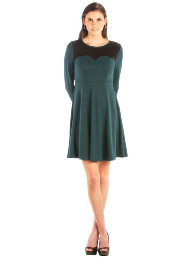 Color Block Sweater Dress with Long Sleeve, Green