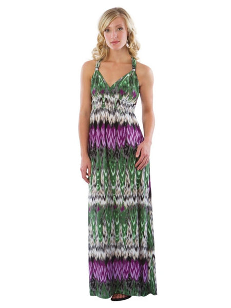 Maxi Beach Dress with Adjustable Faux Halter, Green/Purple