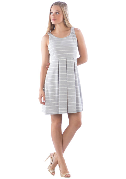 Pleated Waist Striped Dress
