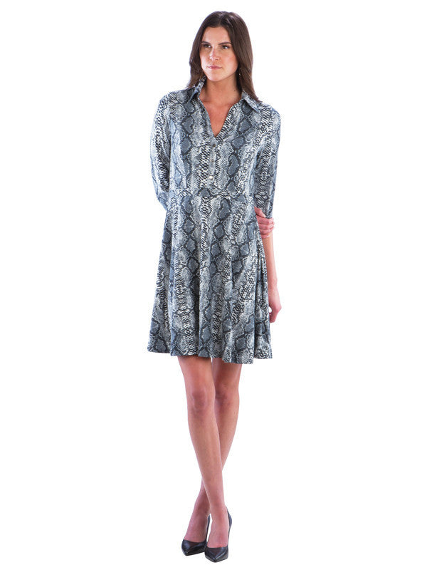 Fit and Flare Snake Skin Print Dress with Collar, Grey