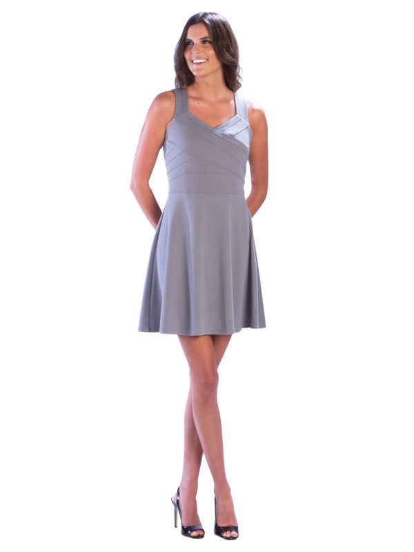 Sleeveless Fit and Flare Bandage Dress, Grey