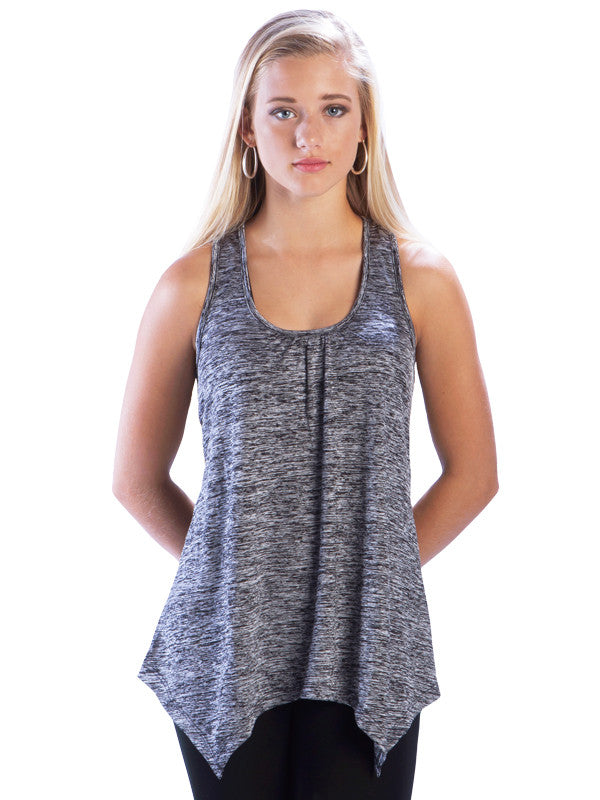 Heather Racerback Top with Irregular Hem in Grey