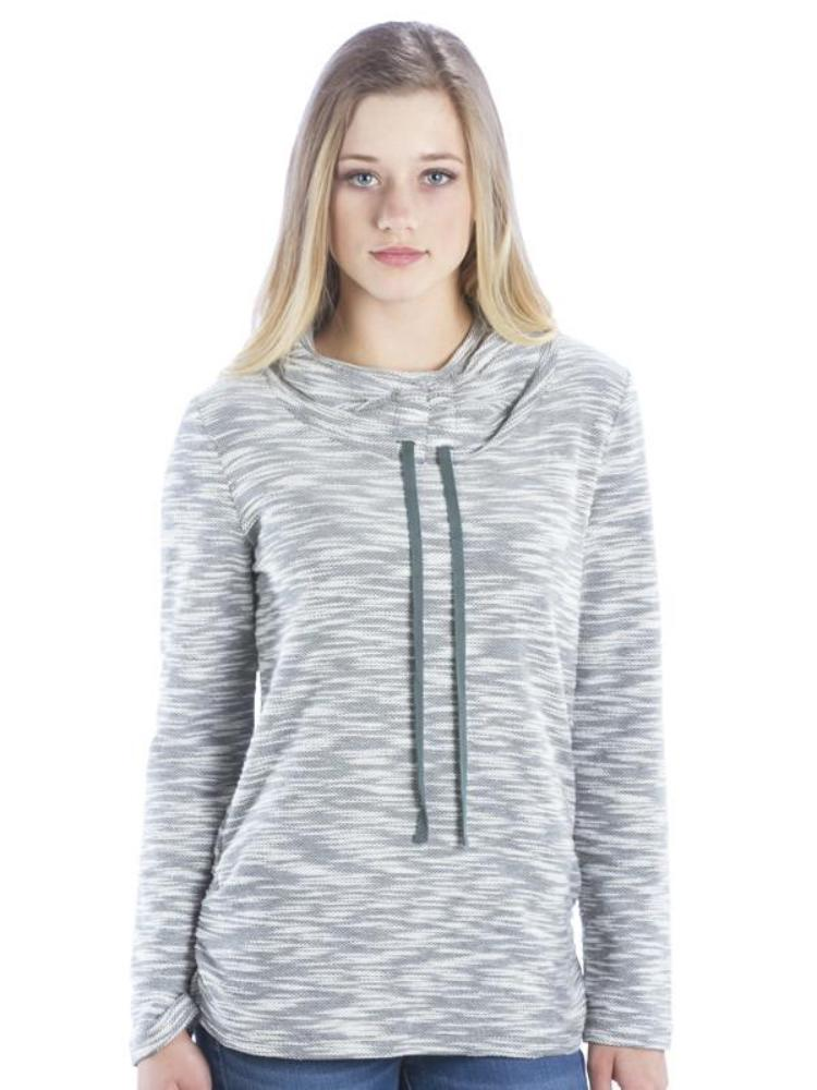 Heather Cowl Neck Athleisure Hoodie With Ruched Sides and Drawstrings, Grey